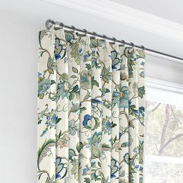 Jacobean Blue Floral Euro Pleated Curtains Close Up