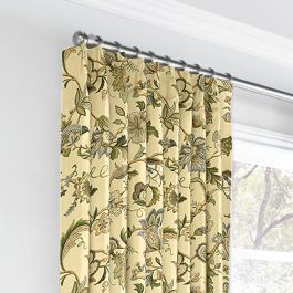 Jacobean Beige Floral Euro Pleated Curtains Close Up