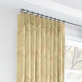 Ivory Medallion Trellis Euro Pleated Curtains Close Up