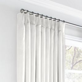 White Slubby Linen Euro Pleated Curtains Close Up