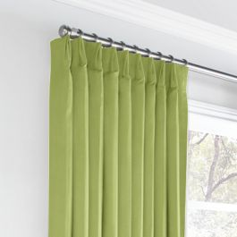 Grass Green Slubby Linen Euro Pleated Curtains Close Up
