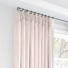 Light Pink Slubby Linen Euro Pleated Curtains Close Up