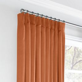Burnt Orange Slubby Linen Euro Pleated Curtains Close Up