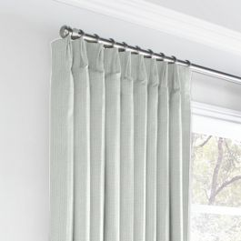 Pale Gray Slubby Linen Euro Pleated Curtains Close Up
