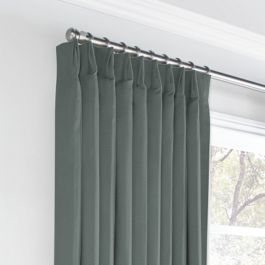 Charcoal Slubby Linen Euro Pleated Curtains Close Up