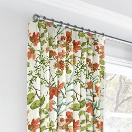 Coral Watercolor Floral Euro Pleated Curtains Close Up