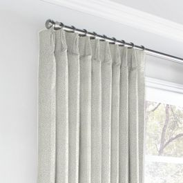 Metallic Silver Shagreen Euro Pleated Curtains Close Up