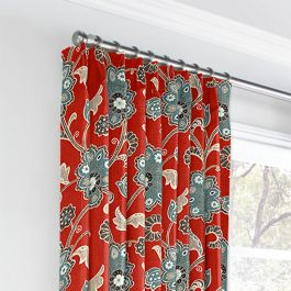 Aqua & Red Floral Euro Pleated Curtains Close Up