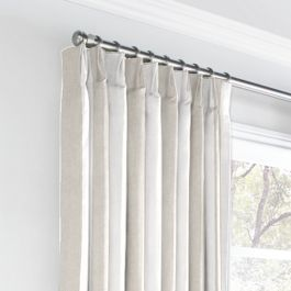 Light Beige Awning Stripe Euro Pleated Curtains Close Up