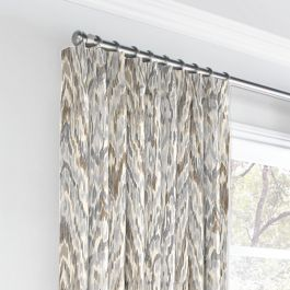 Tan & Gray Faux Bois Euro Pleated Curtains Close Up