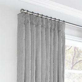 Black Ticking Stripe Euro Pleated Curtains Close Up