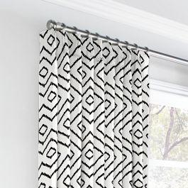 Black & White Diamond Euro Pleated Curtains Close Up