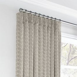 Taupe Geometric Maze Euro Pleated Curtains Close Up