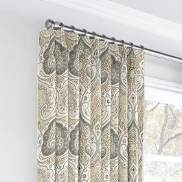 Gray & Tan Paisley Euro Pleated Curtains Close Up