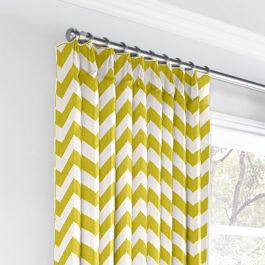 Lime Green Chevron Euro Pleated Curtains Close Up