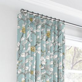 Modern Aqua Floral Euro Pleated Curtains Close Up