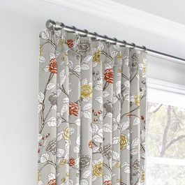 Modern Gray Floral Euro Pleated Curtains Close Up