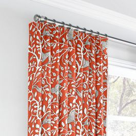 Red Animal Motif Euro Pleated Curtains Close Up