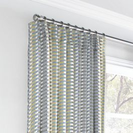 Yellow & Blue Mod Geometric Euro Pleated Curtains Close Up
