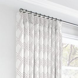 Embroidered Gray Diamond Euro Pleated Curtains Close Up