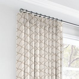 Embroidered Taupe Scallop Euro Pleated Curtains Close Up
