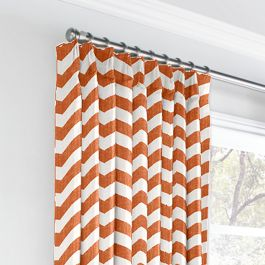 White & Orange Chevron Euro Pleated Curtains Close Up