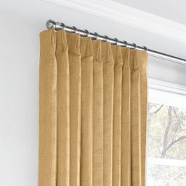Metallic Gold Linen Euro Pleated Curtains Close Up