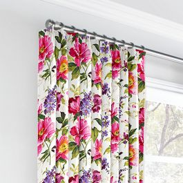 Chintz-like Pink Floral Euro Pleated Curtains Close Up