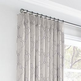 Embroidered Gray Trellis Euro Pleated Curtains Close Up