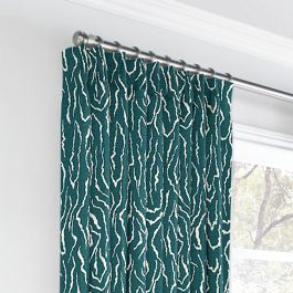 Teal Animal Print Euro Pleated Curtains Close Up