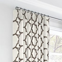 Dark Taupe Quatrefoil Euro Pleated Curtains Close Up