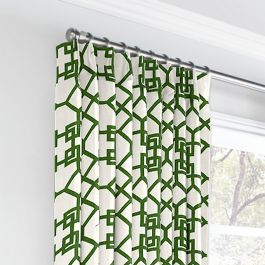 Asian Green Trellis Euro Pleated Curtains Close Up