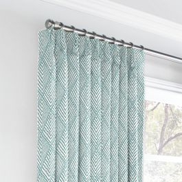 Tribal Blue Diamond Euro Pleated Curtains Close Up