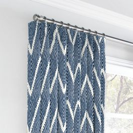 Tribal Navy Blue Chevron Euro Pleated Curtains Close Up