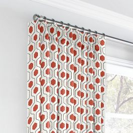 Gray & Red Hexagon Euro Pleated Curtains Close Up