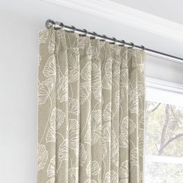 Beige Fan Leaf Euro Pleated Curtains Close Up