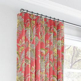 Intricate Pink Floral Euro Pleated Curtains Close Up