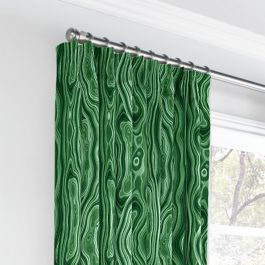 Marbled Green Malachite Euro Pleated Curtains Close Up
