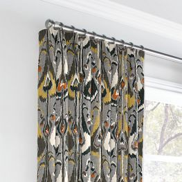 Gray & Orange Ikat Euro Pleated Curtains Close Up