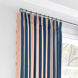Coral & Blue Stripe Euro Pleated Curtains Close Up