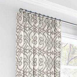 Gray Scroll Trellis Euro Pleated Curtains Close Up