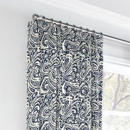 Navy Blue Paisley Euro Pleated Curtains Close Up