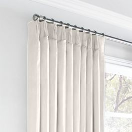 Ivory White Velvet Euro Pleated Curtains Close Up