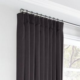 Charcoal Gray Velvet Euro Pleated Curtains Close Up