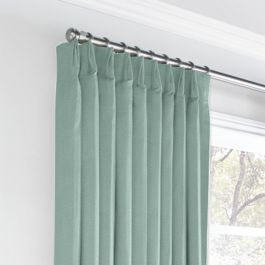Seafoam Aqua Velvet Euro Pleated Curtains Close Up