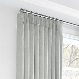 Heathered Light Gray Woven Blend Euro Pleated Curtains Close Up