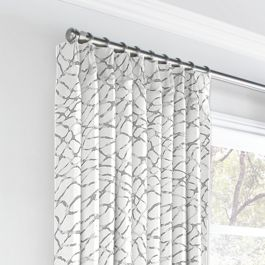 Gray & White Net Euro Pleated Curtains Close Up