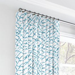 Teal & White Net Euro Pleated Curtains Close Up