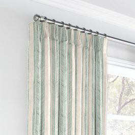 Embroidered Aqua Stripe Euro Pleated Curtains Close Up
