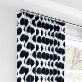 Black & Blue Dot Euro Pleated Curtains Close Up
